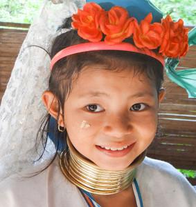Headgear on child in Karen tribal village